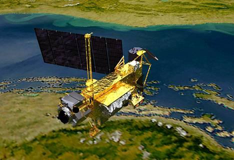 NASA:n havainnekuva esittää UARS-satelliittia, joka syöksyi maan ilmakehään syksyllä 2011.