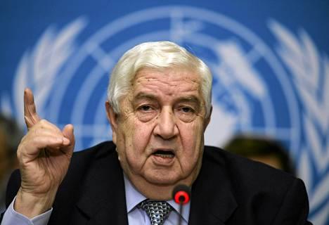 Syyrian ulkoministeri Walid Muallem rauhanneuvottelujen tiedotustilaisuudessa Genevessä.