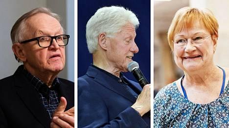 Suomalaispuhujien kohdalla yhdysvaltalaispoliitikkojen palkkioista tipahtaa useampikin nolla pois. Presidentti Martti Ahtisaari, Yhdysvaltain entinen presidentti Bill Clinton ja presidentti Tarja Halonen.