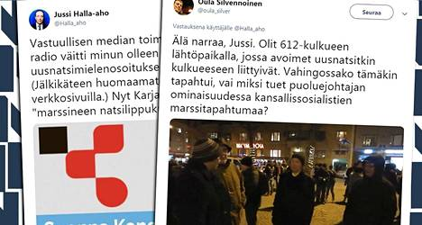 Perussuomalaisten puheenjohtaja Jussi Halla-aho ja historiantutkija Oula Silvennoinen ajautuivat väittelyyn Twitterissä.