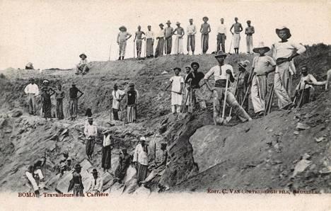 Kivilouhoksen työntekijöitä Kongossa vuonna 1905.