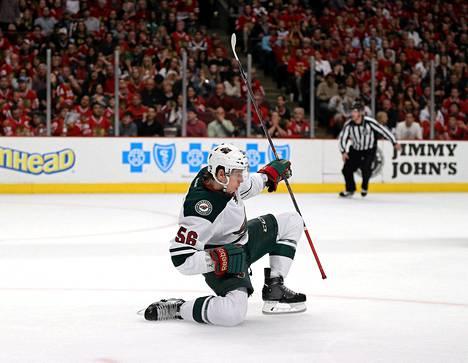 Erik Haula tuuletti NHL:n pudotuspeleissä.