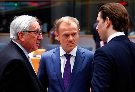 Euroopan komission puheenjohtaja Jean-Claude Juncker, Eurooppa-neuvoston puheenjohtaja Donald Tusk ja Itävallan liittokansleri Sebastian Kurz keskustelivat Brysselissä ennen perjantain kokousta.