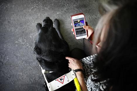 Virpi Jylhän kaksi tärkeää apuvälinettä: Opas-Penny ja älypuhelin.