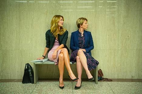 Kaksi Oscar-ehdokasta elokuvasta Marriage Story: Laura Dern (vas.) sivuosasta ja Scarlett Johansson pääosasta.