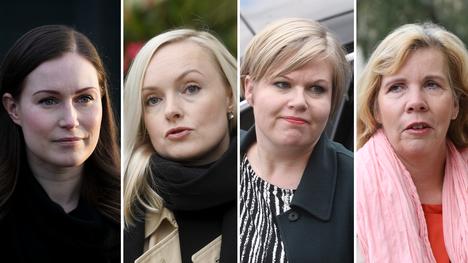 Sanna Marin (sd), Maria Ohisalo (vihr), Annika Saarikko (kesk) ja Anna-Maja Henriksson (r).