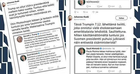 Johannes Koski testasi Twitterissä, miltä tuntuisi, jos Tasavallan presidentti Sauli Niinistö viestisi samaan tapaan kuin Yhdysvaltain presidentti Donald Trump.