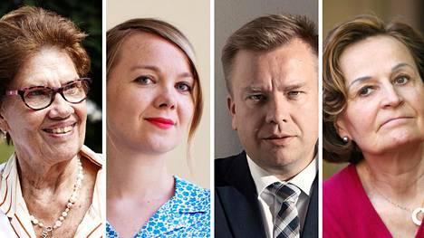 Sirkka-Liisa Anttilan (vas.) mukaan Katri Kulmuni (kesk.) olisi tuore tuulahdus puolueelle, Anneli Jäätteenmäki (oik.) arvostaa Antti Kaikkosen (kesk.) kokemusta.