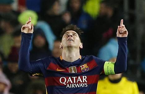 Lionel Messi juhli maaliaan ottelussa Arsenalia vastaan.