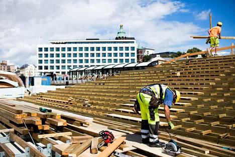 Helsingin Katajanokalle rakennettiin maauimalaa heinäkuussa.