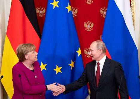 German Chancellor Angela Merkel and Russian President Vladimir Putin in the Kremlin in January 2020.