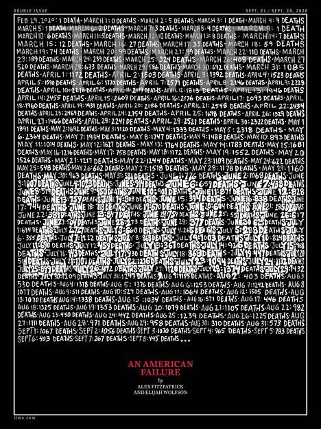 Time julkaisi historiassaan vasta toisen kerran mustareunaisen kannen syyskuussa kertoessaan koronapandemiasta.
