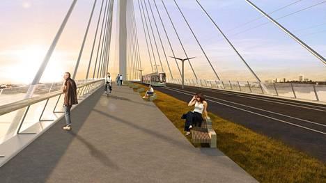 Kruunusillat kulkisivat Hakaniemestä Korkeasaaren kautta Laajasalon Kruunuvuorenrantaan. Autoja silloille ei aiota päästää. Raitiovaunumatka keskustasta Kruunuvuorenrantaan kestäisi 15 minuuttia. Käyttäisivätkö jalankulkijat ja pyöräilijät siltoja myös talvisin?