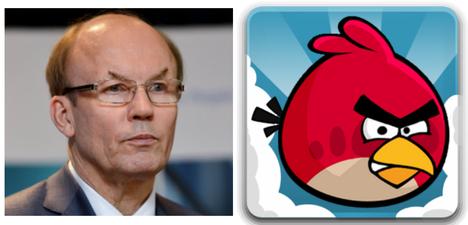 Angry Bird (pelihahmo) ja Matti Alahuhta (yritysjohtaja).