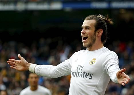 Real Madridin Gareth Bale juhli maalia Sporting Gijonia vastaan 17. tammikuuta 2016.