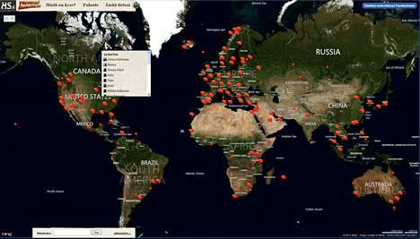HS:n palvelusta löytyy ulkosuomalaisia jo peräti 122 eri maasta. Yhteensä Suomen rajojen ulkopuolella asuu yli miljoona suomalaista.