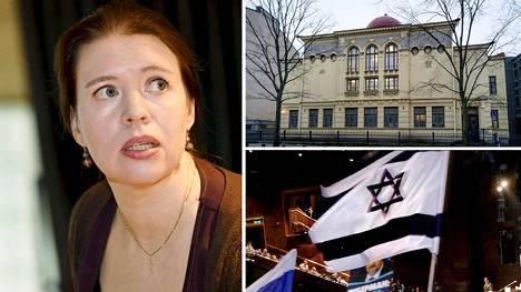 Kansanedustaja Anna Kontula, Helsingin juutalaisen seurakunnan synagoga ja Israelin lippu.