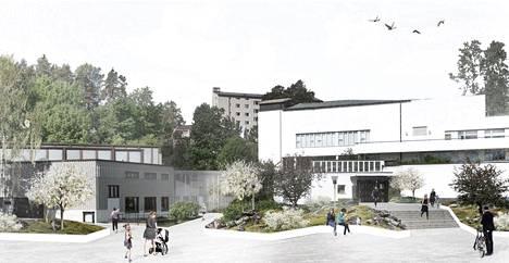 Havainnekuva Silmu-suunnitelmasta, joka yhdistää Alvar Aalto -museota (vas.) ja Keski-Suomen museota.
