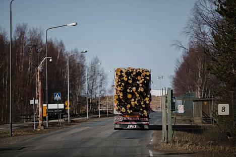 Tukkirekka vie puutavaraa Stora Enson Veitsiluodon tehtaalle Kemissä.
