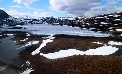 Juhannushiihtojen kisamatka riippuu lumen määrästä. Tänä vuonna Kilpisjärvien tuntureilla lunta riitti 350 metrin hiihtomatkaan.