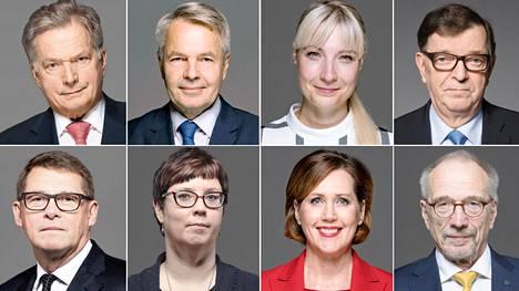 Presidenttiehdokkaat Sauli Niinistö, Pekka Haavisto, Laura Huhtasaari, Paavo Väyrynen, Matti Vanhanen, Merja Kyllönen, Tuula Haatainen ja Nils Torvalds.