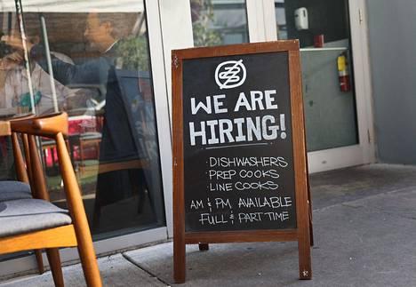 Yhdysvaltain työttömien määrä oli viime viikolla pandemia-ajan matalin.
