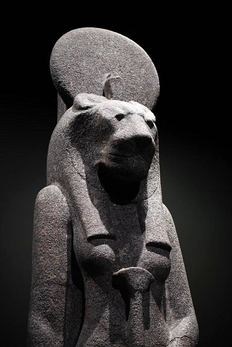 Sekhmet, the god of epidemics and healing, is the                mascot of the exhibition.