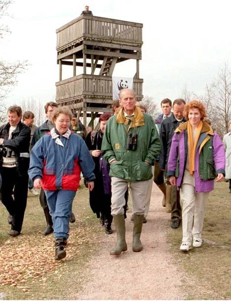 Viikissä prinssi Philip vieraili muun muassa Keinumäen ja Hakalanniemen lintutorneissa.