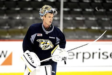 Nashvillen maalivahti Pekka Rinne aamun harjoituksissa St. Paulissa Minnesotassa.
