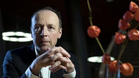 Perussuomalaisten puheenjohtaja Jussi Halla-Aho kuvattiin tiistaina Pikku-parlamentissa.