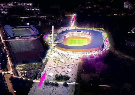 Suunnittelijoiden mielestä Olympiastadion ympäristöineen voisi remontin jälkeen näyttää tältä iltavalaistuksessa tältä. Nuolet kuvaavat saapumissuuntia alueelle, ja Stadionin ympäri pääsisi nykyistä paremmin kulkemaan, kun monia toimintoja viedään maan alle.