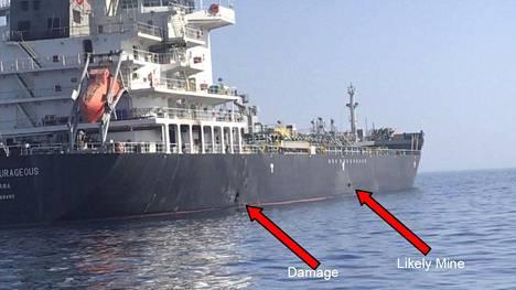 Yhdysvaltojen laivaston välittämässä kuvassa osoitetaan Kokuka Courageous -aluksen kyljessä näkyvä vaurio ja oletettu miina.