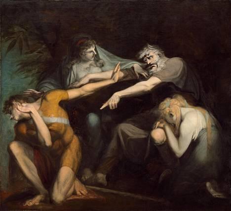 Oidipus kiroaa poikansa Polyneikeen Henry Fuselin maalauksessa vuodelta 1786.