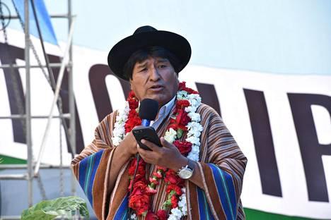 Bolivian presidentti Evo Morales puhui Tiquipayan kaupungissa Cochabamban alueella tiistaina.