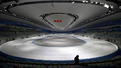 National Speed Skating Oval, a venue of the 2022 Winter Olympic Games, is seen during an organised media tour in Beijing, China January 22, 2021. REUTERS/Tingshu Wang - RC2ZCL9U5T60