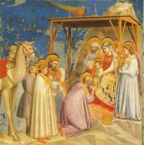 Komeettaakin (ylhäällä) on pidetty Betlehemin tähtenä keskiajan kuvauksissa.