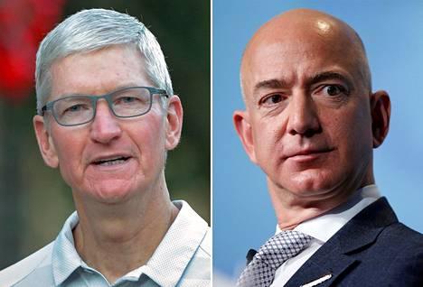 Applen toimitusjohtaja Tim Cook ja Amazonin toimitusjohtaja Jeff Bezos.