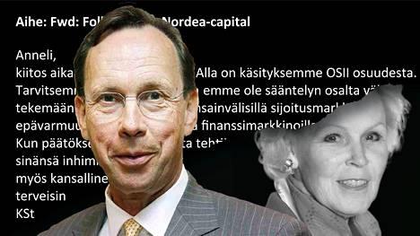 Sammon konsernijohtaja Kari Stadigh vetosi Finanssivalvonnan johtajaan Anneli Tuomiseen useilla sähköposteilla 2019, kun Nordean muutto Suomeen oli tuonut mukanaan yllättävän ongelman Sammolle.