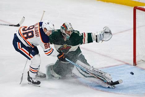 Jesse Puljujärvi teki kauden kuudennen maalinsa Oilersin 3–2-vierasvoitossa Minnesota Wildiä vastaan lauantaina.