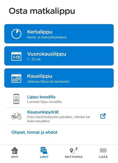 HSL-sovelluksessa on Reittioppaan lisäksi muun muassa lippukauppa.