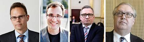 EK:n Markus Äimälä (vas.), SAK:n Nikolas Elomaa, STTK:n Mäenpää ja AKAVA:n Ture Fjäder.