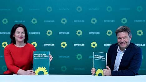 Vihreiden liittokansleriehdokas on joko Annalena Baerbock tai Robert Habeck. Vihreät on saanut kovan kannatusnousun viime aikoina Saksassa.