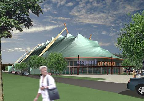 An observational image of the Esport Arena from 2012. The image shows what kind of roof the building was originally designed for.