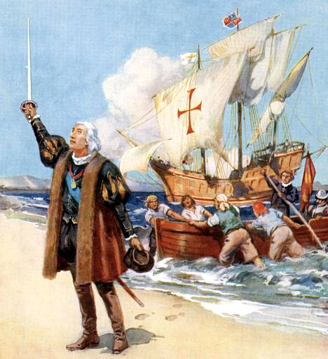 Maalaus Kristoffer Kolumbuksesta Amerikassa vuonna 1492.