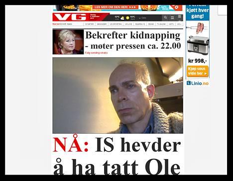 Kuvakaappaus norjalaisen Verdens Gang -lehden verkkosivulta.