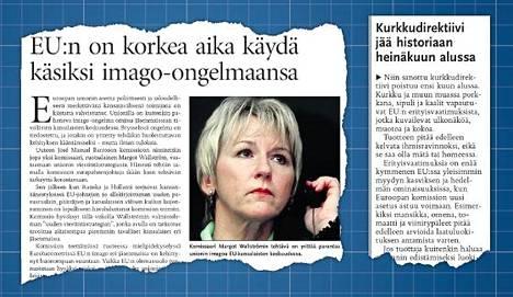 """Helsingin Sanomat sivusi """"kurkkudirektiiviä"""" pääkirjoituksessaan 24.7.2005. Erityisvaatimusten poistumisesta kerrottiin 25.6.2009."""