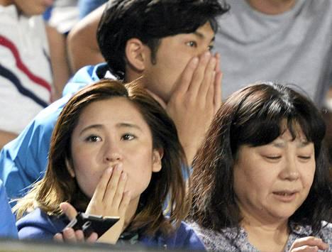 Jalkapalloa seurannut yleisö säikähti lauantaina Hiratsukassa lähellä Tokiota voimakasta maanjäristystä.