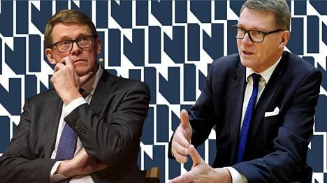 Matti Vanhanen (vasemmalla) ja Matti Vanhanen.