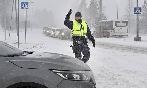 The police directed traffic near the crash site on Turunväylä in Espoo in early March.