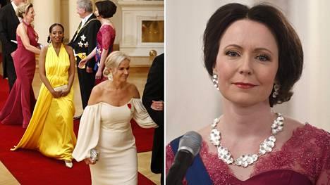 Vihreiden kansanedustaja Bella Forsgren (vas.) ja rouva Jenni Haukio Linnan juhlissa.